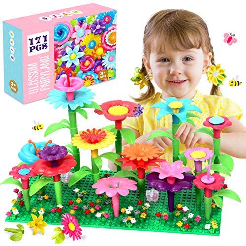 ATCRINICT Flores de Juguete para Niñas de 3 Años, Juguete de Construcción de Jardín Stem para Niños, Juego de Ramos de Flores de Regalo para Niñas de 3 4 5 6 Años(171 Piezas)