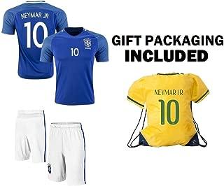 Neymar Jersey #10 Brazil Youth Home Soccer Jersey & Shorts + Gift Bag