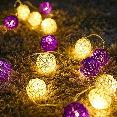 MERRYHE 3 M 20 Ampoules Lumières De Rotin LED Lumière De Rotin Sepak Ball String String Lights Lantern Night Lights Fée String Rope Lights Décoration De Vacances De Noël,Purple-20LEDs