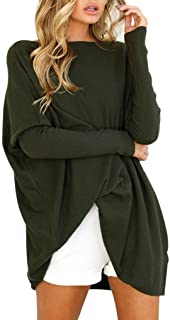 TUDUZ Blouse Women's Blouse Casual Round Neck Loose Long Sleeve Pullover Tops Blouse X-Large Army Green