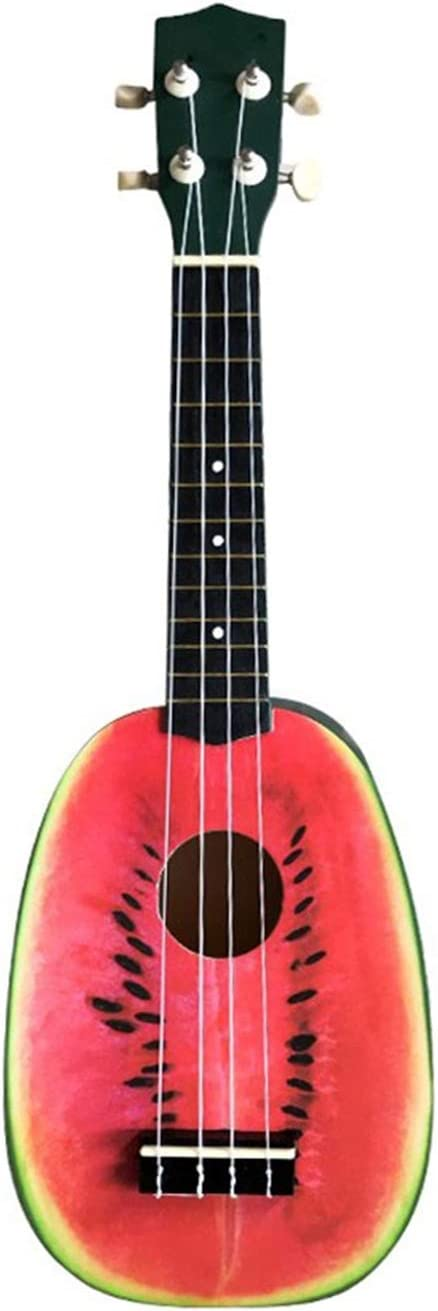 Instrumento De Cuerda De Guitarra De Cuatro Cuerdas De 21 Pulgadas, Patrón De Sandía Exquisito -54 Cm De Largo, Adecuado Para Los Principiantes De La Música Joven, La Música Joven Para Princi(Color:A)
