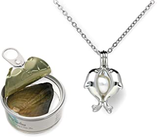 Pearlina Dolphins Necklace Cultured Pearl Oyster Set Silver Tone Plated Cage w/Stainless Steel Chain 18