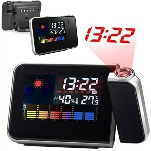 GEZICHTA Weather Station With Digital Projection Alarm Clock Multi Function Colour Changing LED Display Backlight Weather Station With Projection Alarm Clock Black