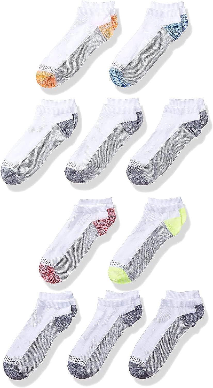 Fruit of the Loom Boys' 10-Pair Flat Knit No Show Socks
