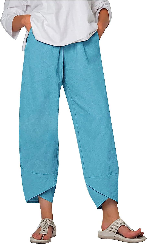 JPLZi Women Solid Color Cotton Wide Leg Pants Linen Capri Cropped Baggy Pants Y2k Vintage Harem Trouser with Pockets