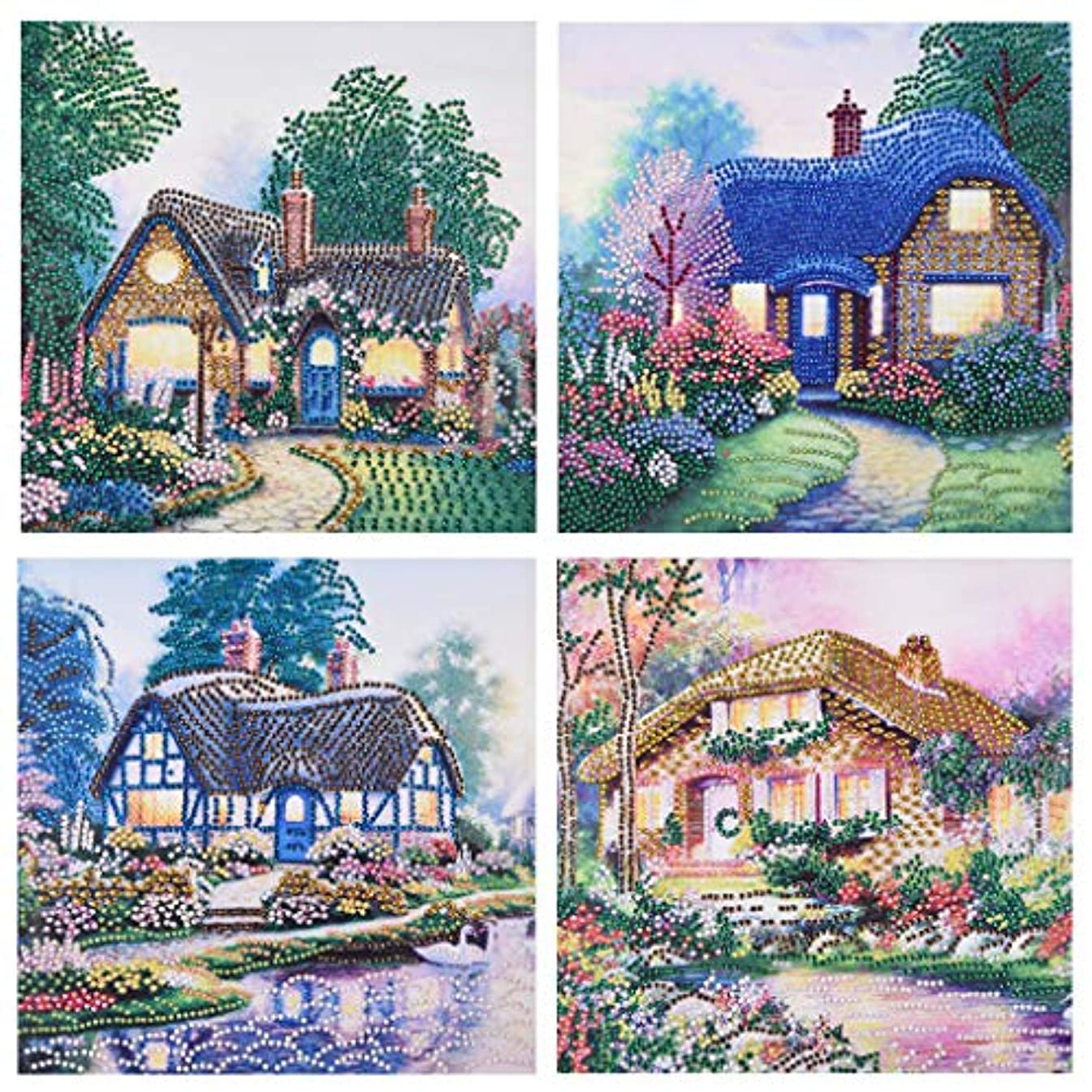 DIY 5D Special Shaped Diamond Painting by Number Kits, Section Drill Rhinestone Embroidery Cross Stitch Pictures for Home Decor Ross Beauty 4 Packs/Set (House01)