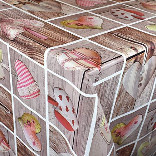 KEVKUS Wachstuch Tischdecke Meterware C145341 Herzen Love Holz Patchwork wählbar in eckig rund oval (Rand: Paspel (mit Kunststoffband), 140 x 190 cm oval)