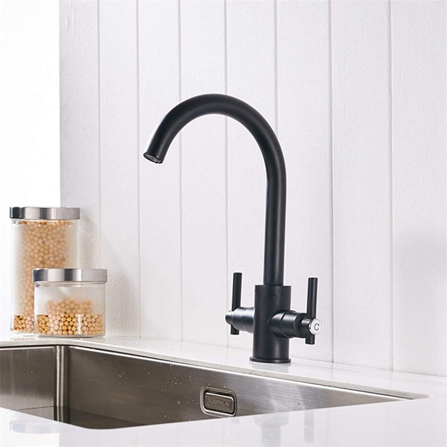 FZHLR Black Chrome Brushed Nickel color Kitchen Faucets Double Hands Round Bathroom Sinks Wall-in Taps Double Hole Mix Water Tap,Black