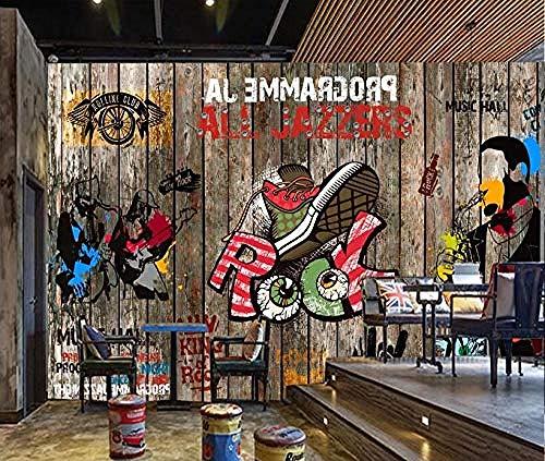 3D wallpaper mural Europese en Amerikaanse houten plank pop-rock bar ktv achtergrond muur 250 cm x 175 cm.