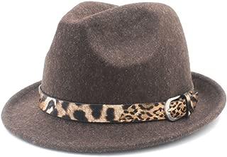 SGJFZD for Elegant Lady Cashmere Trilby Fedora Jazz Hat with Leopard Belt Women's Men's Wool Felt Homburg Jazz Fedora Hat (Color : Coffee, Size : 57-58cm)