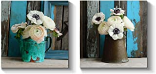Floral Canvas Wall Art Print: Flower Artwork Bouquet in Vase Painting Picture for Living Room (12'' x 12'' x 2 Panels)