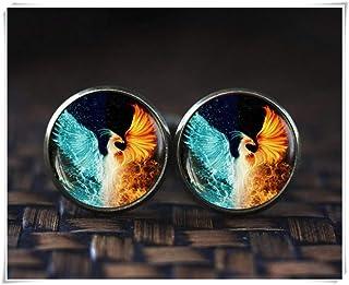 Goodnight cat Phoenix Cufflinks, Phoenix fire and Water Cufflinks, red and Blue Phoenix Cufflinks, Phoenix Jewelry, Dome Glass Ornaments
