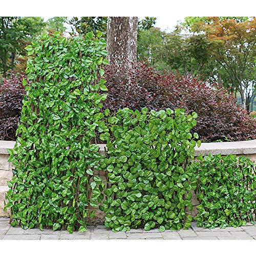VeroMan伸縮グリーンフェンスリーフラティスベランダ柵目隠し緑のカーテン日よけサンシェード(123cm)
