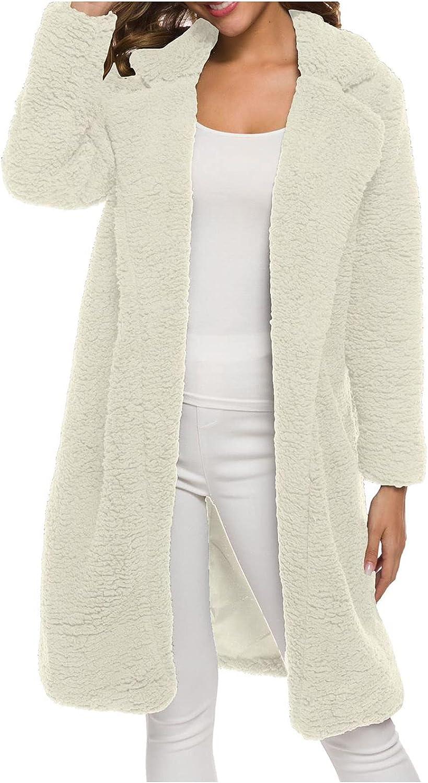 Women's Teddy Bear Fleece Coats Oversized Solid Color Cardigan Lapel Mid-long Open Front Tops Shaggy Winter Outerwear