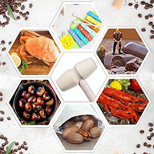 6 Martelli Mini in Legno per Cioccolato Mini Giocattolo Martello di Legno Giocattoli Bambini Mazzuolo di Granchio in Legno Artigianato Multiuso e Oggetti Scena per Giochi Pelle Creazione