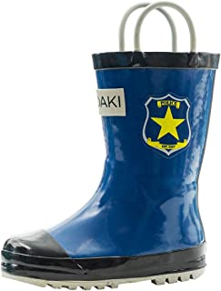 Toddler Rain Boots - Kids Rain Boots for Girls & Boys - Waterproof Rubber Boots w/Easy-On Handles