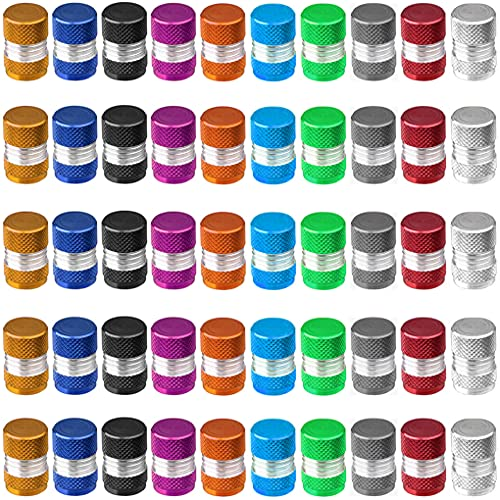Greluma 50 Piezas Tapas de Válvula de Neumático,Tapa de Válvula de Neumático de Coche con Junta Tórica,Tapas de Aire de Aluminio a Prueba de Polvo,10 Colores