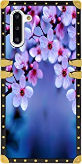 Square Phone Case Samsung Galaxy Note 10, Cherry Blossom Wallpaper Luxury Fashion Design Elegant Soft TPU Metal Decoration Full Protection Shockproof Back Cover