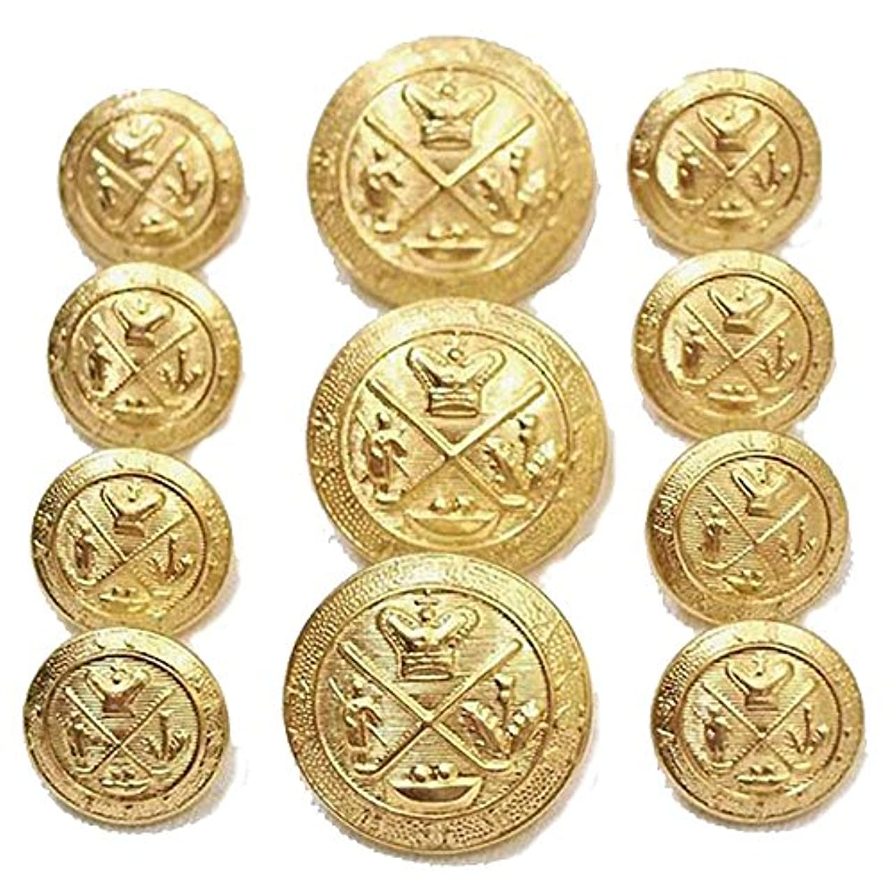 New Premium Gold Toned Metal ~GOLF KING'S ROYAL CREST- Set of 11 Buttons