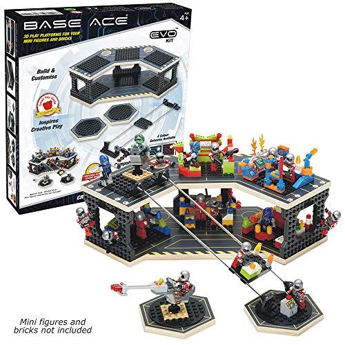 Base Ace Plataforma de Juego 3D para Minifiguras, Kit EVO con líneas Amarillas, Compatible con Todas Las Marcas líderes de Ladrillos para construcción de Juguetes
