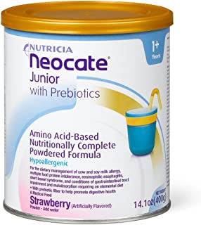 Neocate Junior with Prebiotics, Strawberry, 14.1 oz / 400 g (Case of 4 cans)