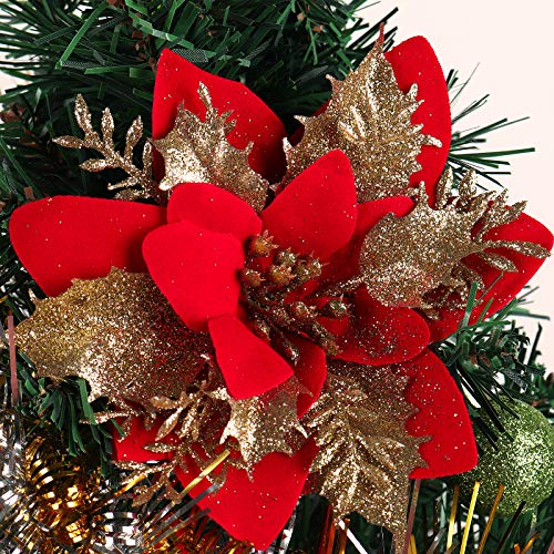 RECUTMS 10-Pack Artificial Glitter Poinsettia,Christmas Flower Ornaments, Xmas Tree Decorations for Thanksgiving Xmas Wedding Party Wreath Decoration, 6'(16cm) Diameter(Red+Gold)