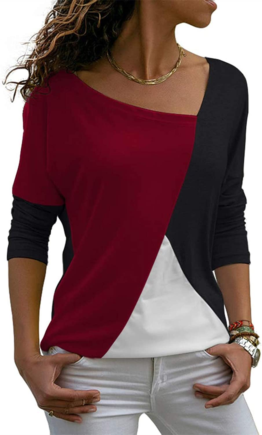 YSDS Forever Women's Long Sleeve Color Block T Shirt Blouses Casual Patchwork Loose Fits Tunic Tops