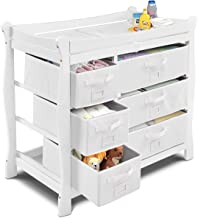 Costzon Baby Changing Table, Infant Diaper Changing Table Organization, Newborn Nursery Station with Pad, Sleigh Style Nursery Dresser Changing Table with Hamper/ 6 Baskets (White)