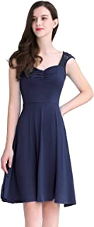 YOYAKER Women's Floral Lace Bridesmaid Dress Vintage Square-Neck A-line Prom Party Swing Cocktail Dress