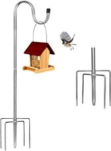 Bird Feeder Pole, 30 inch Adjustable Shepherds Hook 5 Prong Metal Hanger Hook Garden Plant Hooks for Lanterns Weddings Decor, Silver