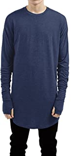 Mens Thumb Hole Cuffs Long Sleeve T-Shirt Basic Tee