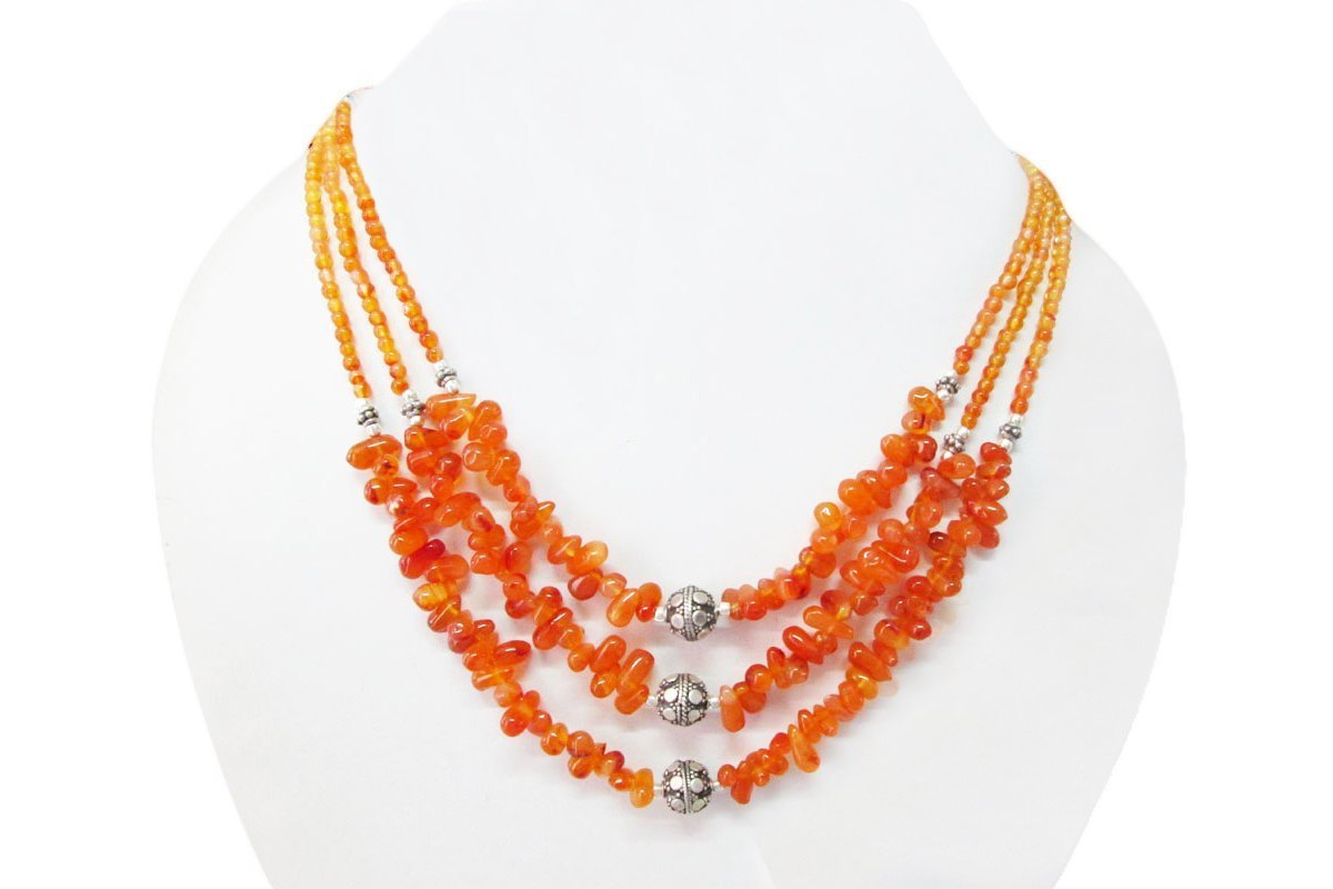 Translated Orange Carnelian Beads Handmade Silver Limited time for free shipping Sterling finding Necklace