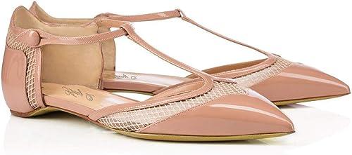 ZHAOYUNZHEN Chaussures Plates pour Femmes, Talon Plat, Cravate, Chaussures Faites à la Main,A,41
