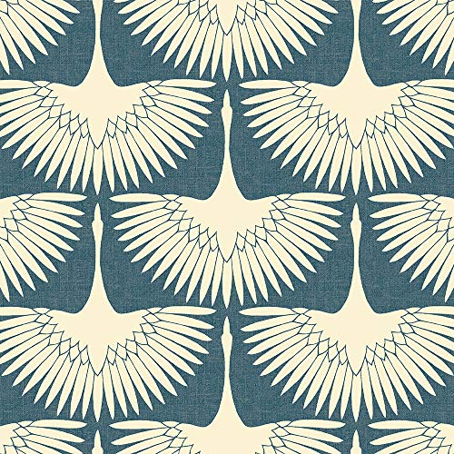 Tempaper FE14027 Feather Flock Removable Peel and Stick Wallpaper, 28 sq. ft, Denim Blue