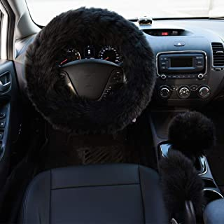 Valleycomfy 4PCS Set Luxury Fluffy Steering Wheel Cover with Handbrake Cover & Gear Shift Cover Faux Wool Fuzzy Steering W...