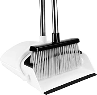 Broom and Dustpan [2019 Version] Tiumso Dust pan Broom Set with Upgrade Combo and Sturdiest Extendable Long Handle,4 Layers Bristles,Upright Standing for Home, Office, Kitchen, Lobby