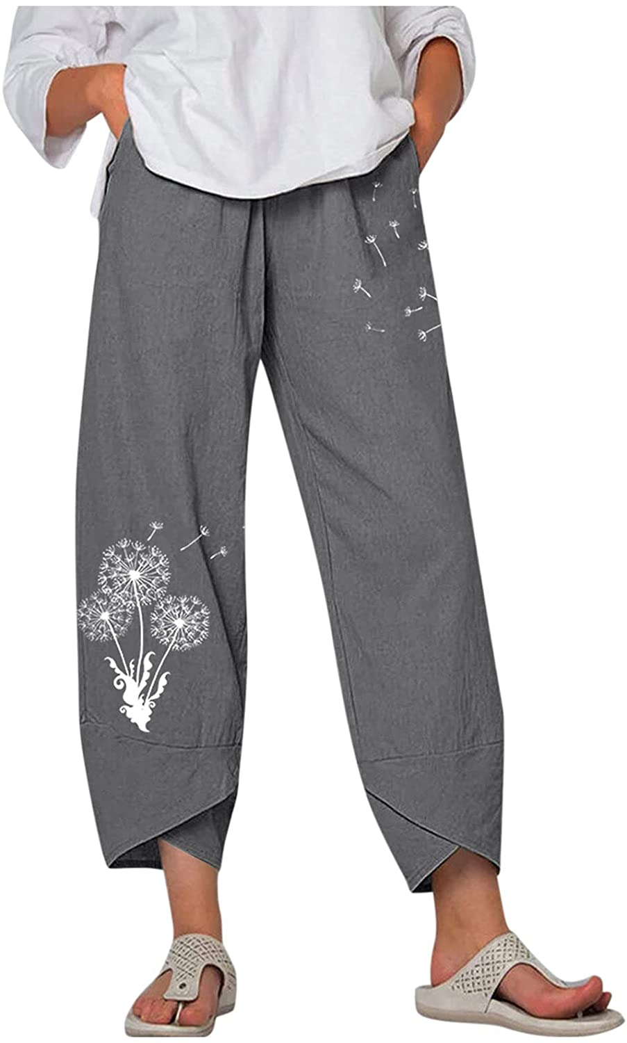 XLLX Women's Casual High Waisted Wide Leg Pants Embroidery Pockets Lounge Trousers