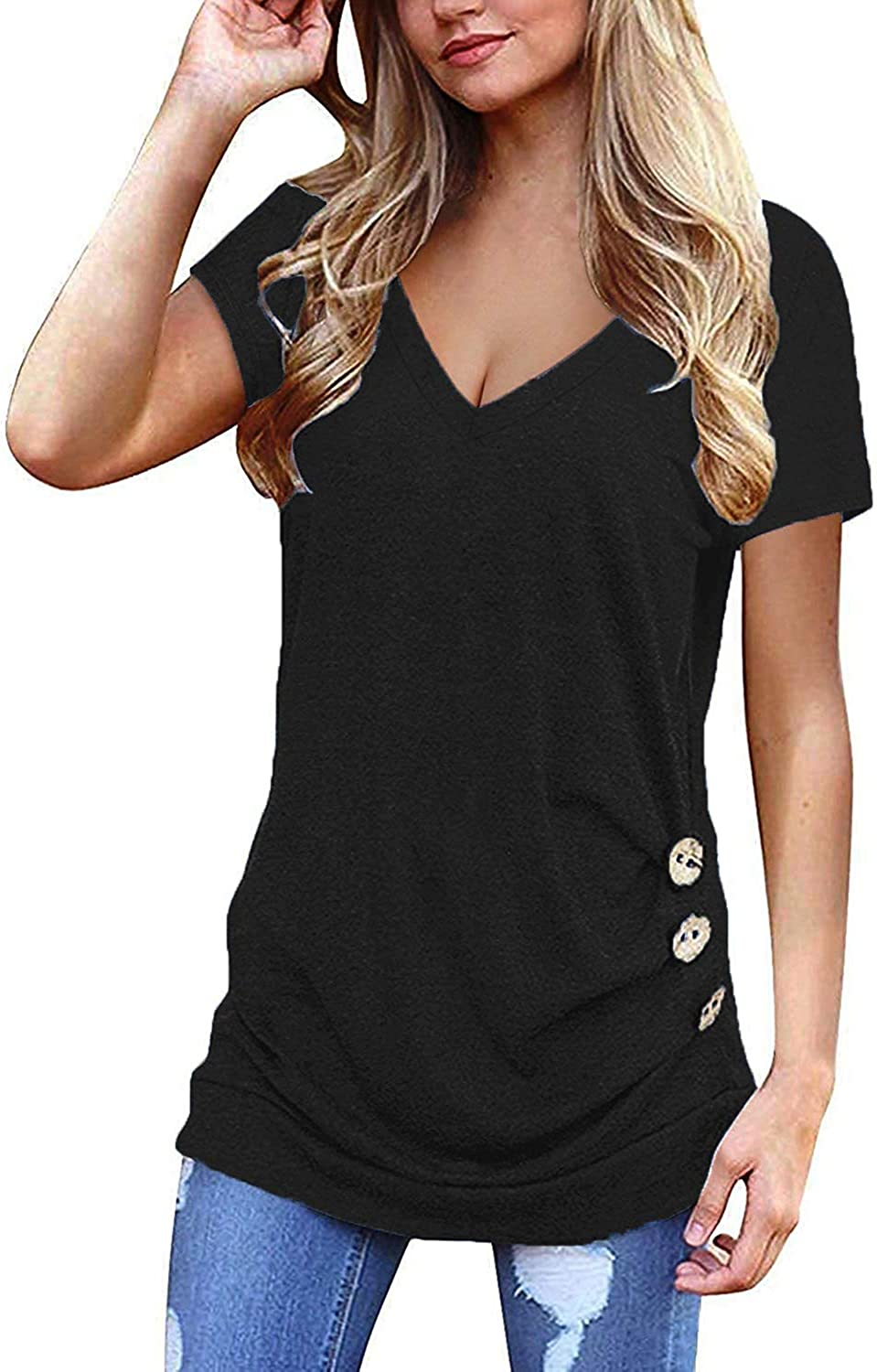 Newchoice Women's Summer Short Sleeve T Shirts V Neck Casual Tunic Blouse Tops