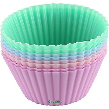 Clazkit Silicone Muffin Moulds - 8 Pieces, Multicolour