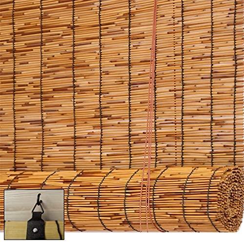 Cortinas de caña natural, persianas de rodillo de bambú tejidas a mano, carbonización Ciego Sun Shade, anti -UV / Retro / impermeable / sombrilla, con elevador, personalizable, para al aire libre / in