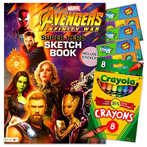 Marvel Heroes Avengers Coloring Book, Stickers and Crayons Bundled with Specialty Separately Licensed GWW Reward Stickers