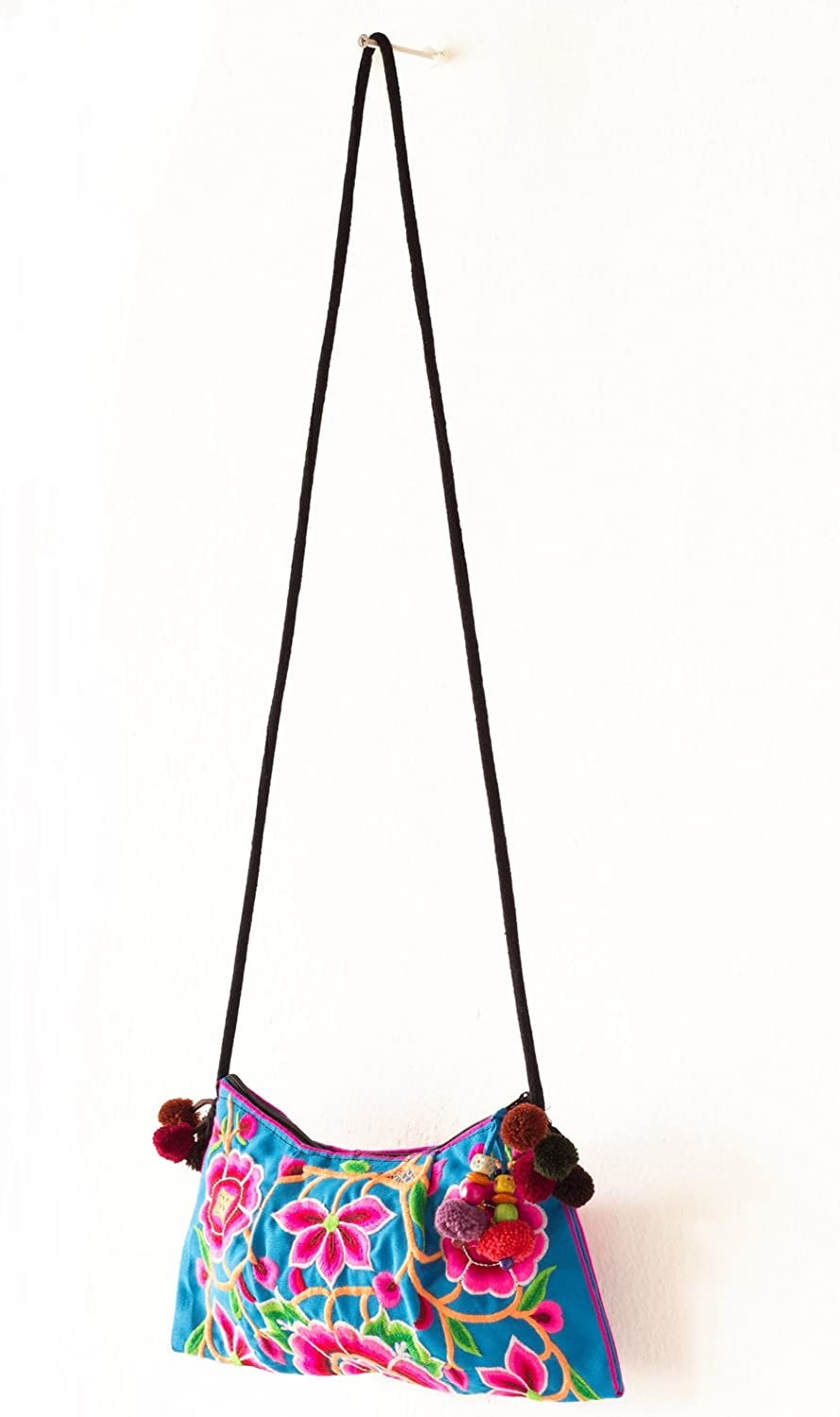 Changnoi bluee Cocoon Embroidered Hill Tribe Handmade Purse Crossbody Bag