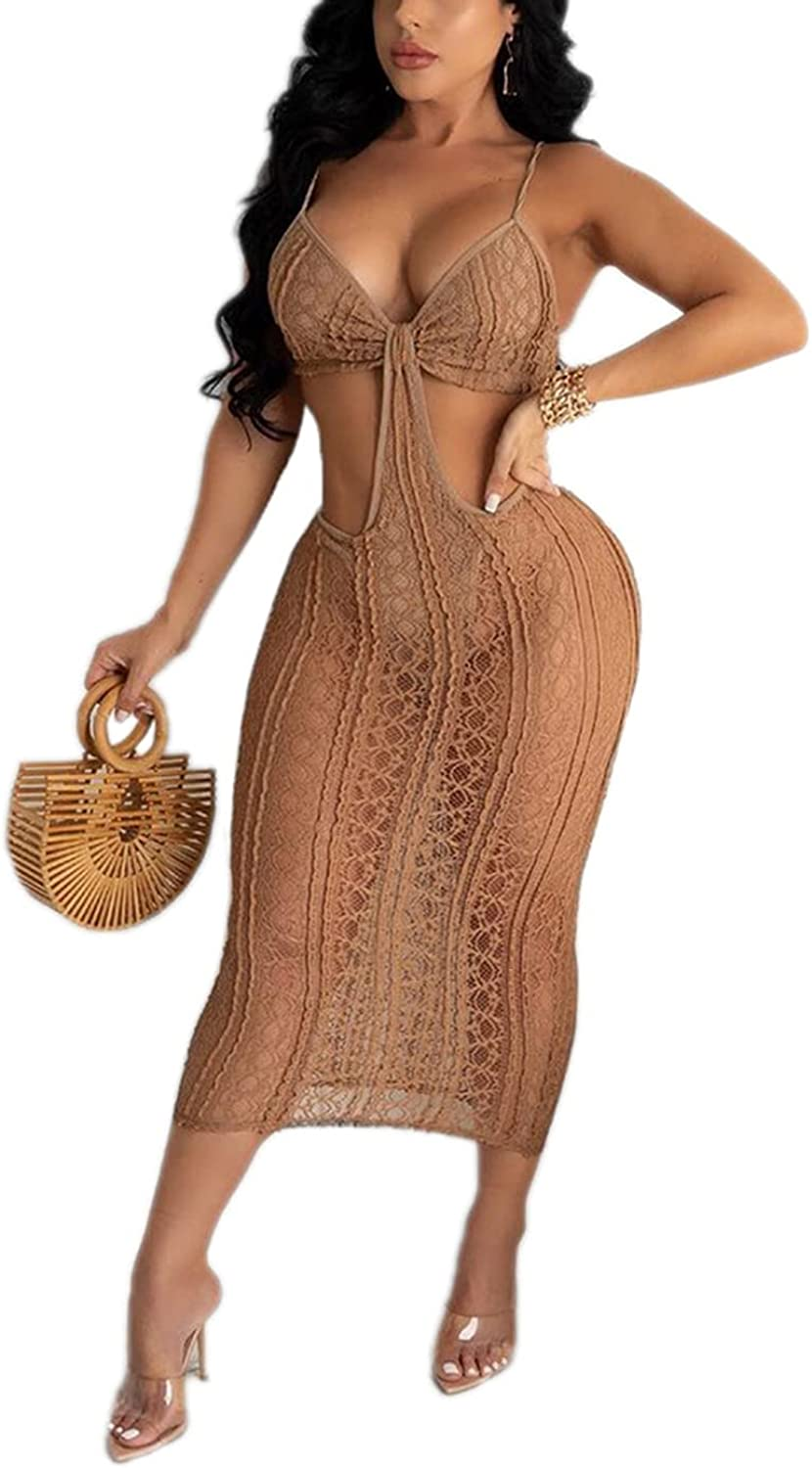 Women's Lace Spaghetti Strap Dress See Through Hollow Out Sleeveless Party Cocktail Midi Dress