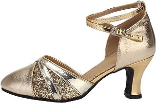 ad8accc26ce4 Mujer Zapatos de Baile de Salsa Latina - UNNIAO Dedo del pie Cerrado con  Lentejuelas Malla