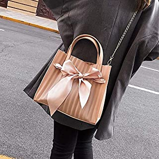 Adebie - Summer New Scarf Bow Transparent Clear Women Handbag Beach Sweet Brand Designer Crossbody Shoulder Bag Lady Jelly Large Tote Bag Pink