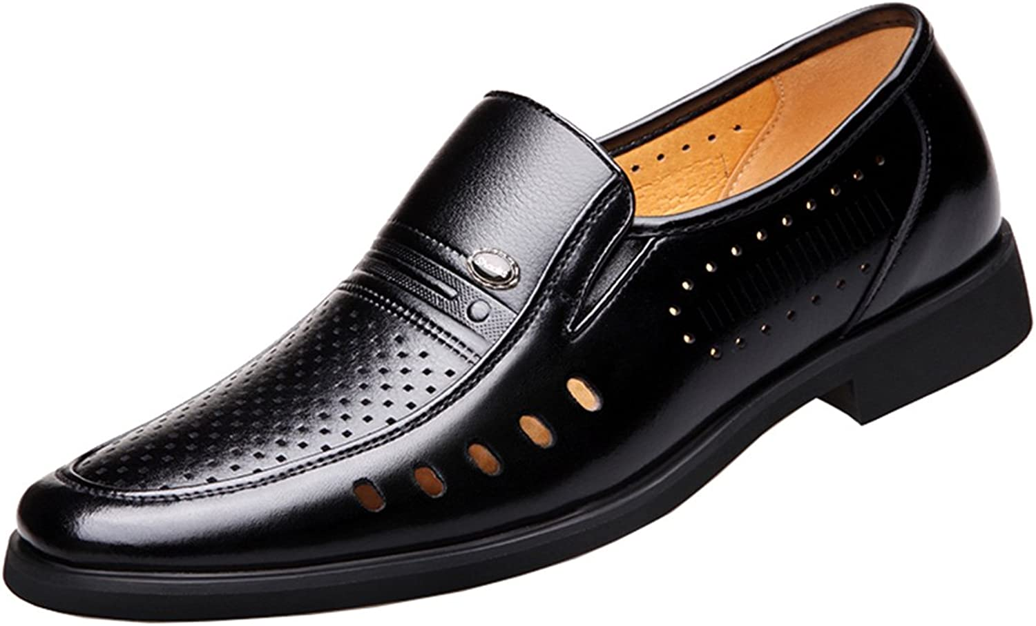 Seaoeey Men's Business Oxford Dress Casual Leather shoes Slip-on Loafers