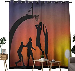 NUOMANAN Grommet Curtains Teen Room,Boys Playing Basketball at Sunset Horizon Sky with Dramatic Scenery, Dark Coral Black Yellow,Blackout Draperies for Bedroom Window 84