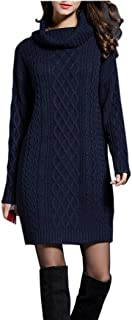 NUTEXROL Women's Long Sleeve Turtleneck Knit Thick Cable Pullover Sweater Dress Navy L
