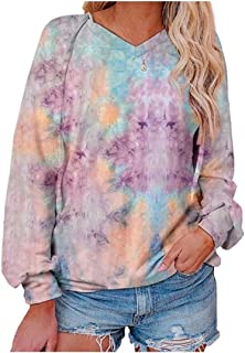 Whitive Womens Hoode Blouse Baggy Style Tie Dye Gradients Tees Top