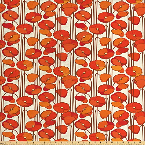 Ambesonne Floral Fabric by The Yard, Art Nouveau Style Poppy Flowers Retro Spring Summer Garden Foliage Petals, Decorative Fabric for Upholstery and Home Accents, 1 Yard, Orange Ivory